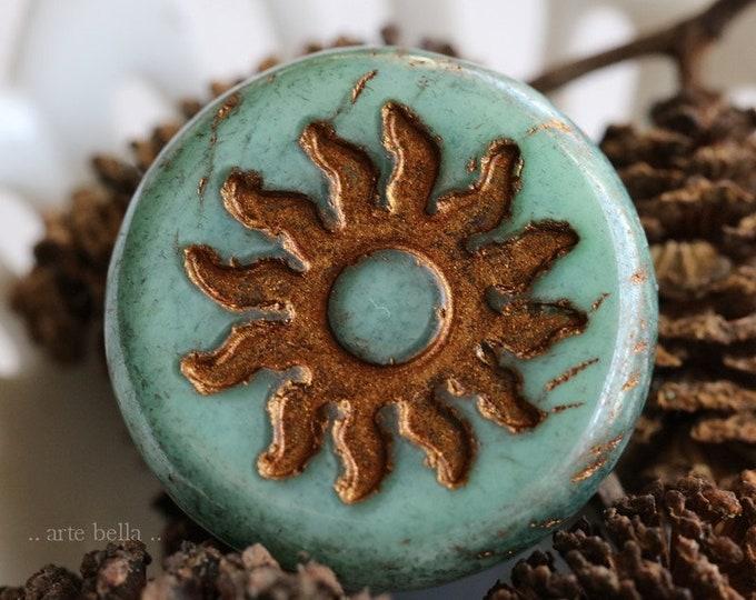BRONZED FERN RAYS .. 1 Premium Picasso Czech Glass Sun Coin Bead 22mm (7629-1)