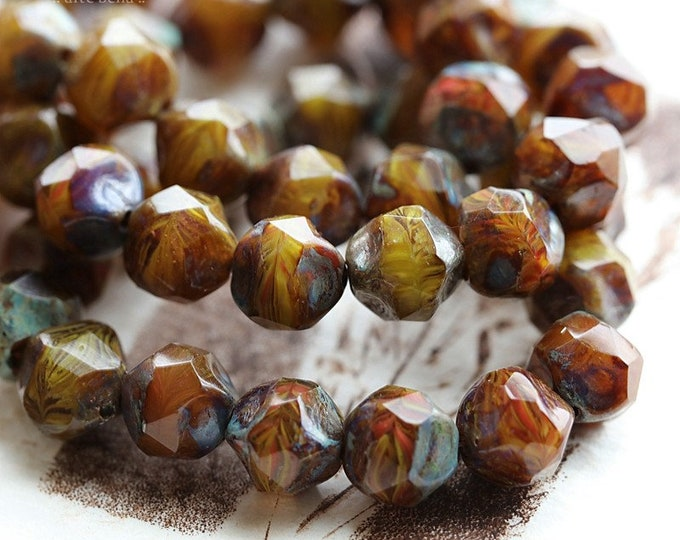 AUTUMN NUGGETS .. 15 Premium Picasso Czech Glass Faceted Baroque Beads 9mm (B7000-st)