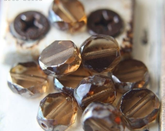 last ones .. FAWN .. 10 Premium Picasso Czech Glass Beads 8mm (695-10)