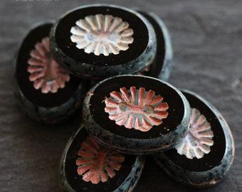 MIDNIGHT STARS .. 6 Picasso Czech Kiwi Oval Glass Beads 14x10mm (6204-6)
