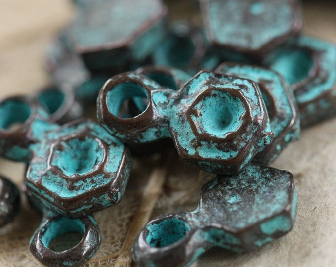 DECO HEX .. 4 Mykonos Greek Hexagon Charm Beads 6x11mm (M44-4)