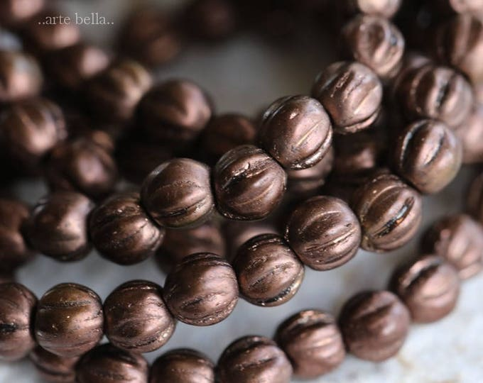 BRONZE METALLIC MELONS No. 3 .. 50 Premium Picasso Czech Glass Melon Beads 4mm (6166-st)