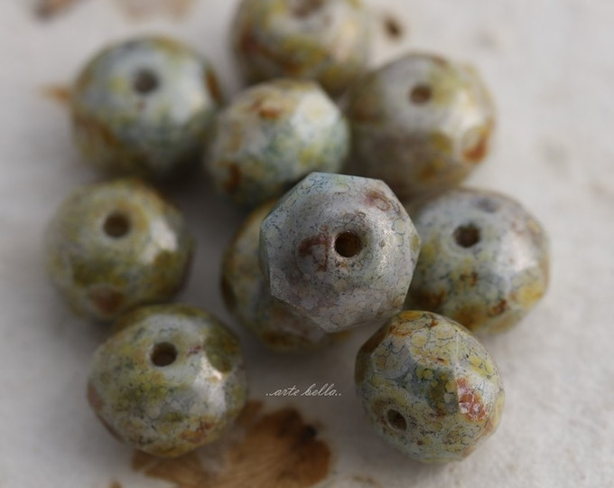 sale .. MYSTIC SAGE .. 10 Premium Picasso Czech Glass Rondelle Beads 6x9mm (5455-10)