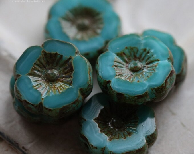 TURQUOISE PANSIES 12mm .. NEW 6 Premium Picasso Czech Glass Flower Beads 12mm (6832-6)