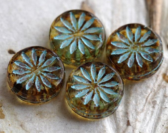 """BLUE """"Light"""" AMBER ASTER .. 4 Premium Picasso Czech Glass Aster Flower Coin Beads 12x4mm (7435-4)"""