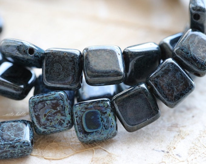 BLACK DENIM TILES .. 25 Premium Picasso Glass Czech Tile Beads 6mm (3787-st)