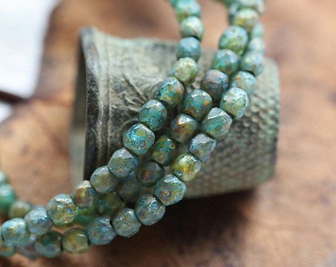 TEAL POND BITS 3mm .. 50 Premium Picasso Czech Etched Glass Faceted Round Beads (8212-st)