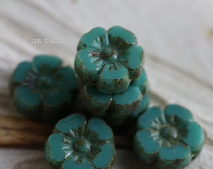 TURQUOISE PANSY .. 6 Premium Picasso Czech Glass Flower Beads 10mm (6789-6)