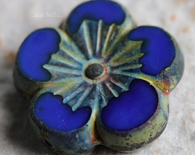 SAPPHIRE HIBISCUS .. NEW 1 Premium Picasso Czech Glass Hibiscus Flower Bead 21mm (6939-1)