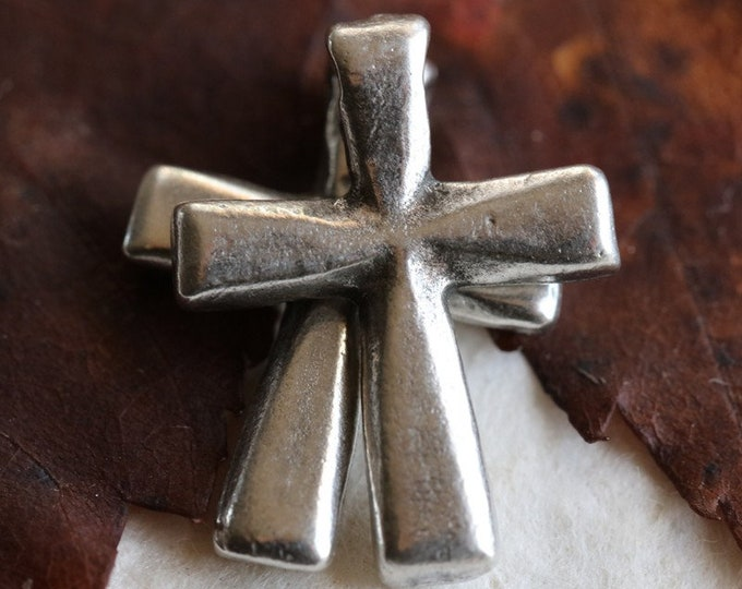 PEWTER DECO CROSS No. 208 .. New 2 Mykonos Greek Cross Charm Beads 21x16mm (M208-2)
