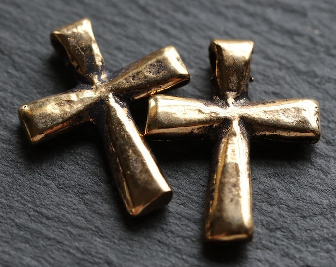DECO CROSS No. 227 .. 2 Mykonos Greek Antique Gold Cross Charms 21x16mm (M227-2)