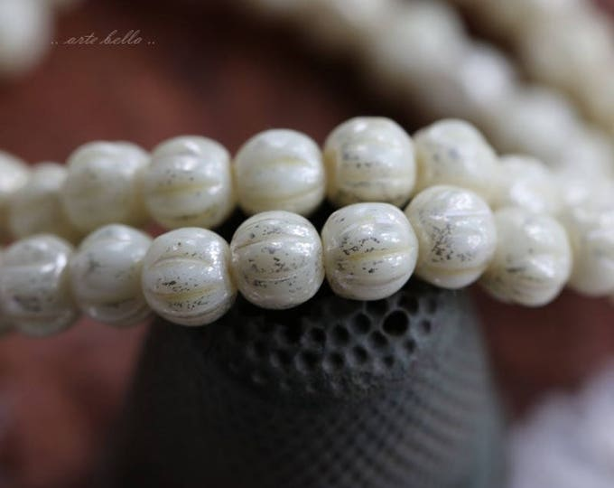 SILVERED CREAM MELONS No. 2 .. 50 Premium Picasso Czech Glass Melon Beads 4mm (5827-st)