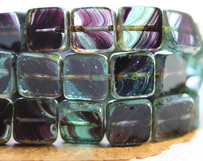LARKSPUR .. 15 Premium Picasso Czech Glass Square Beads 9mm (B1015-15)