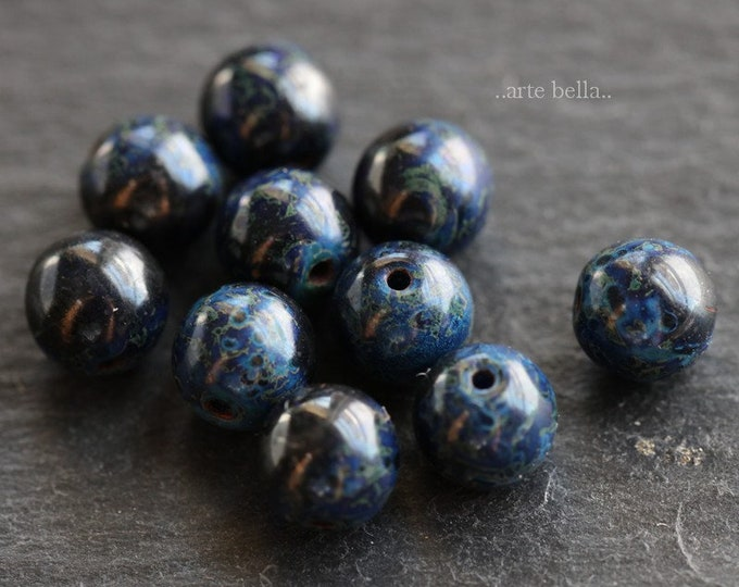 COBALT MARBLES 6mm .. 10 Premium Picasso Czech Glass Druk Beads (6522-10)