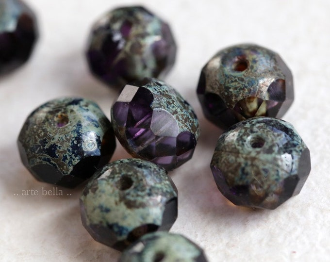 GRAPE VIOLETS .. 10 Premium Picasso Czech Rondelle Glass Beads 6x8mm (7303-10)