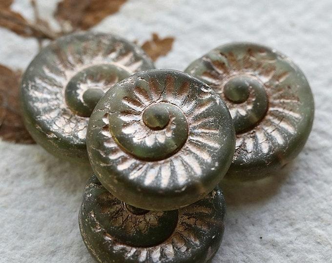 PINK SAGE FOSSIL .. New 4 Premium Matte Czech Glass Spiral Fossil Beads 19mm (8646-4)