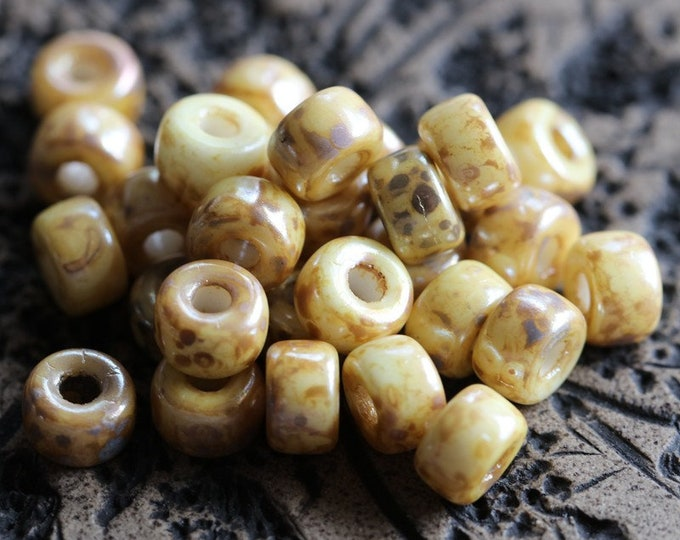 SILVERED IVORY SEEDS .. 30 Premium Picasso Matubo Czech Glass Seed Beads Size 2/0 (8384-30)