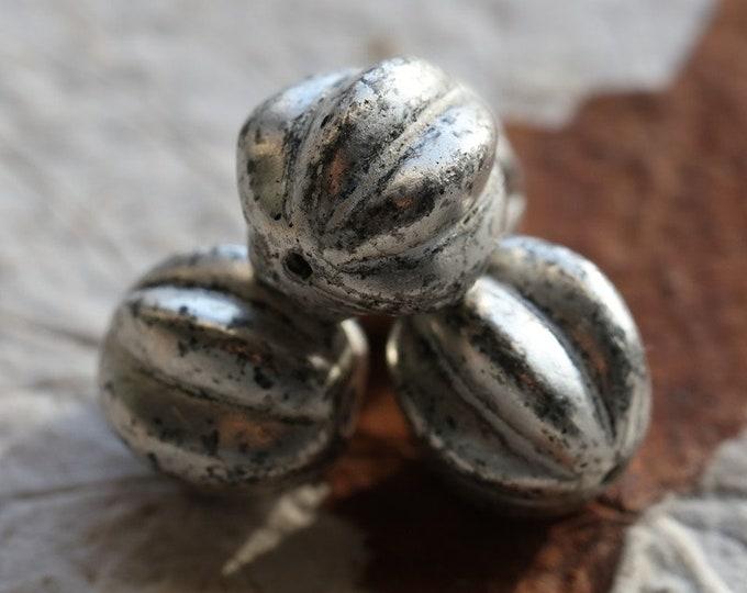 SILVERED MERCURY MELONS 12mm .. 4 Premium Mercury Czech Glass Melon Beads (7526-4)