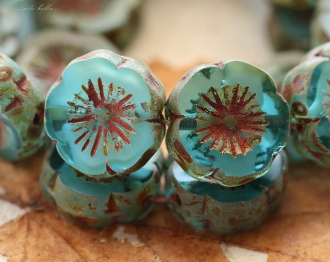 AQUA PANSIES .. 4 Picasso Czech Glass Flower Beads 14-15mm (4624-4)