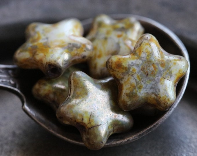 PLUM CREAM STARS .. New 6 Premium Picasso Czech Glass Star Beads 12mm (7399-6)