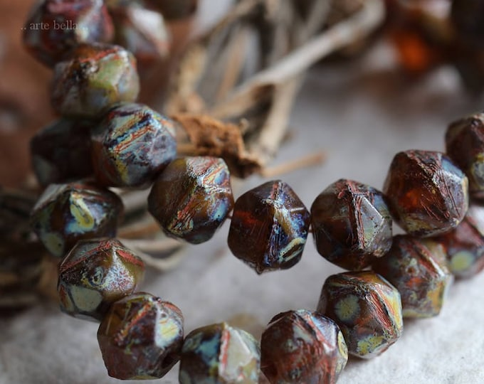COGNAC NUGGETS .. 20 Picasso Czech Glass English Cut Beads 8mm (5926-st)