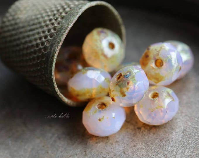 BALLET SLIPPERS No. 2 .. 10 Premium Picasso Czech Glass Rondelle Beads 7x5mm (5859-10)