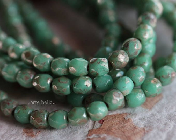 TURQUOISE MAGIC BITS .. 50 Picasso Faceted Czech Glass Beads 3mm (3485-st)