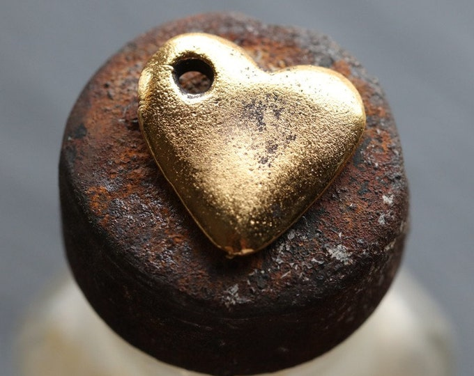 ANTIQUE GOLD HEARTS .. 2 Mykonos Greek Heart Pendant Charm Dangle 14mm (M223-2)