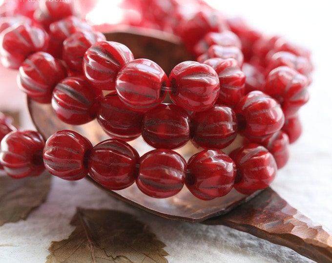 CHERRY MELONS 6mm .. 25 Premium Large Hole Czech Glass Melon Beads (8083-st)