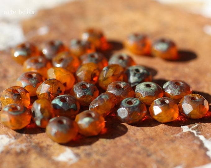 RIPE MANGO .. 30 Premium Picasso Czech Glass Faceted Rondelle Beads 3x5mm (1980-st)