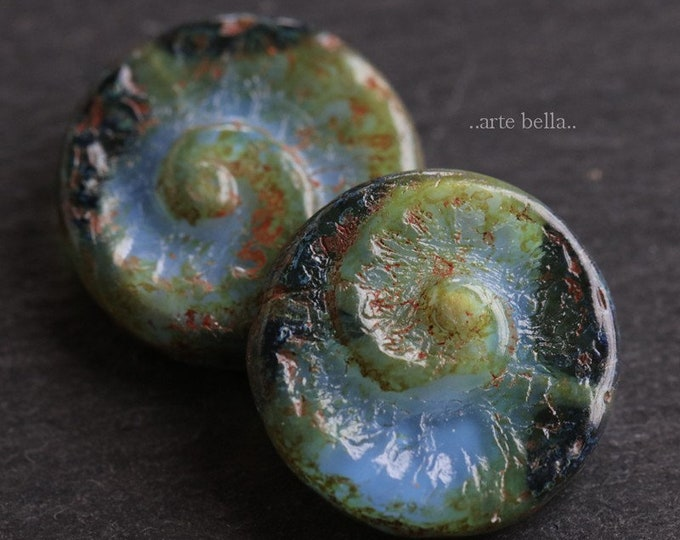 MOSSY BLUE FOSSIL .. 2 Picasso Czech Spiral Fossil Glass Beads 17.5mm (6574-2)