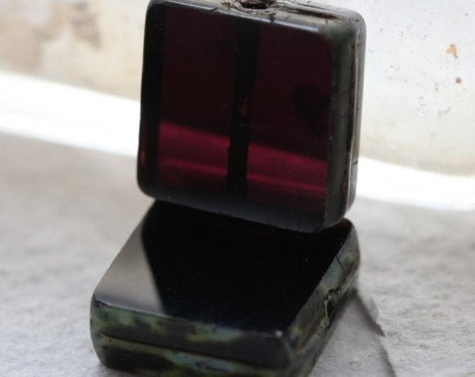 BLACK PLUM SQUARES .. 4 Premium Picasso Czech Glass Tile Square Beads 13x4mm (8061-4)