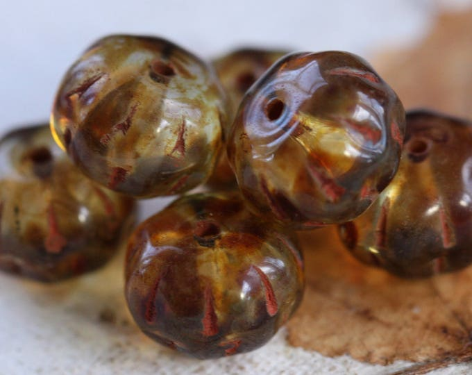 sale .. BROWN PUMPKINS .. 6 Premium Picasso Czech Glass Melon Beads 8x12mm (B9008-6)