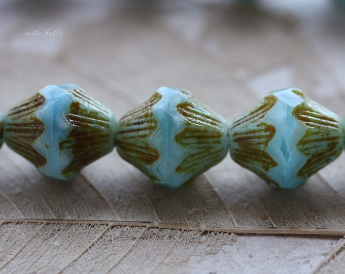 sale .. COTTON CANDY LOVE .. 6 Premium Picasso Czech Glass Baroque Bicone Beads 13x11mm (4423-6)