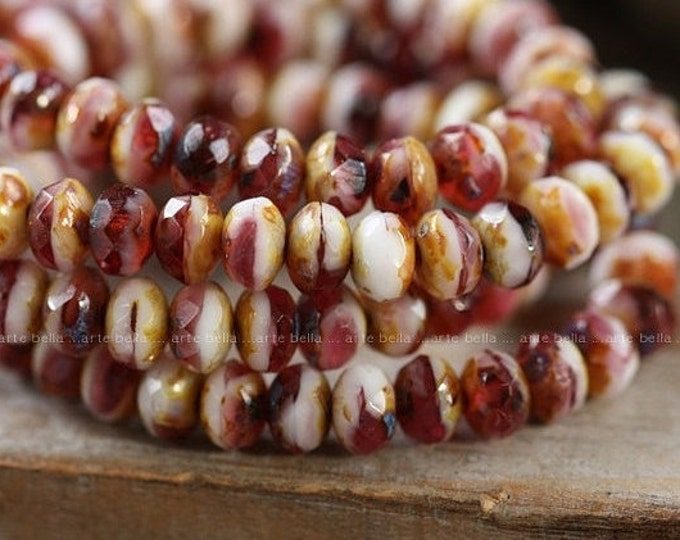 BING WHIP PIPS .. 30 Premium Picasso Czech Glass Beads 3x5mm (3989-st)