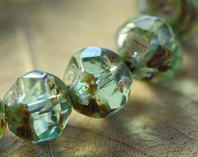 AQUA CRYSTAL .. 10 Premium Picasso Czech Glass Baroque Beads 8mm (31-10)