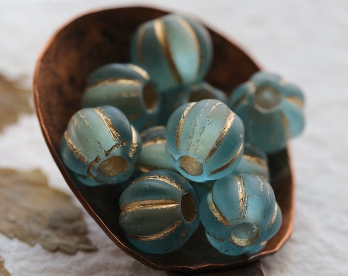 GOLDEN BLUE MELONS 8mm .. 10 Premium Large Hole Matte Czech Glass Melon Beads (8089-10)