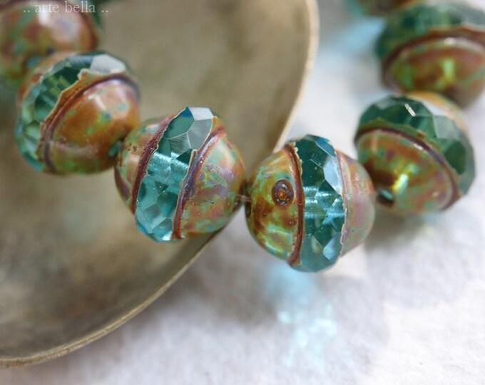 MOSSY AQUA BLISS .. 10 Premium Picasso Czech Glass Saturn Beads 10x12mm (7906-10)