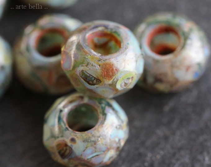 EVERGLADE ROLLERS .. NEW 10 Premium Picasso Czech Glass Large Hole Roller Beads 6x9mm (7490-10)