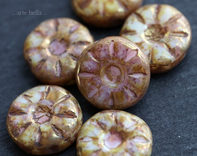 RASPBERRY CREAM DAISY .. 6 Premium Picasso Czech Glass Daisy Coin Beads 12mm (7388-6)
