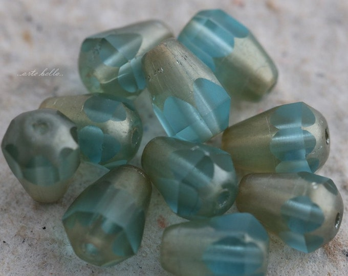 Matte SILVERED AQUA DROPETTES .. 10 Matte Picasso Czech Glass Drop Beads 8x6mm (5643-10)