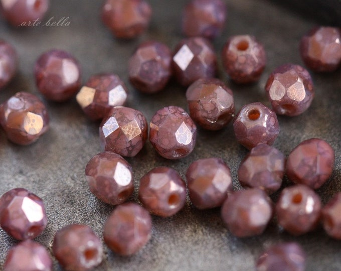 PINK FAIRY DUST .. 50 Picasso Czech Glass Beads 4mm (3624-st)