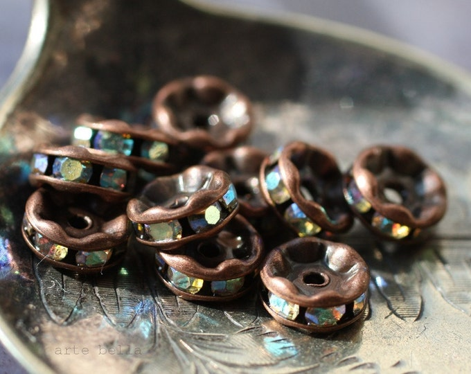 6mm Copper Czech AB Crystal Rhinestone Rondelles x 10 (rhi-04/10)