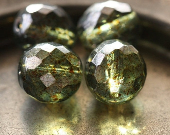 PINE PLUMP ROUNDS No. 2 .. 4 Premium Picasso Czech Glass Faceted Round Beads 14mm (4416-4)