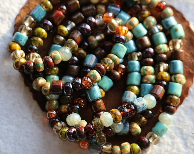 """AUTUMN SKY SEEDS No. 8591 .. 21"""" Premium Picasso Czech Glass Striped Seed Tube Bead Mix Size 6/0 (8591-st)"""