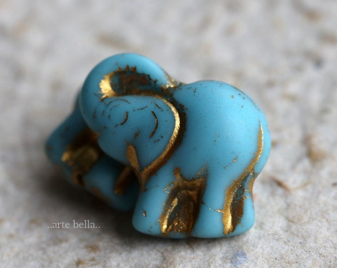 GOLDEN SKY ELLE .. New 2 Premium Picasso Czech Glass Elephant Beads 20x23mm (7228-2)
