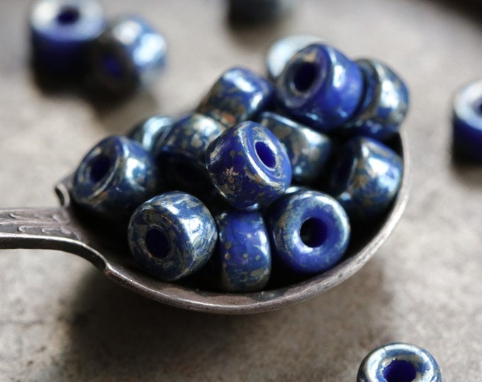 SILVERED BLUE SEEDS .. New 30 Premium Picasso Matubo Czech Glass Seed Beads Size 2/0 (8382-30)