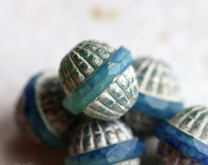 SILVERED BAHAMA GROOVES .. New 4 Premium Picasso Czech Glass Saturn Beads 12x11mm (7331-4)