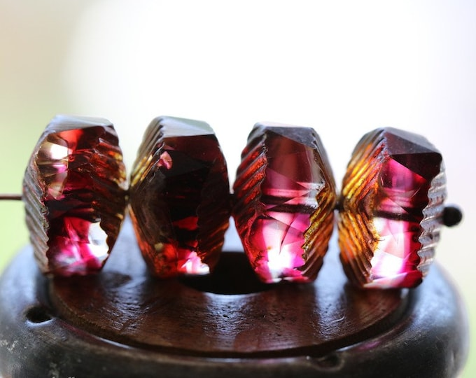 MYSTIC SANGRIA WAVES .. 4 Premium Picasso Luster Czech Glass Bead 14x9mm (8240-4)