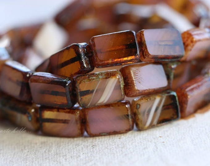sale .. PINK AMBER .. 15 Picasso Czech Glass Rectangle Beads 12x8.5mm (B1020-st)